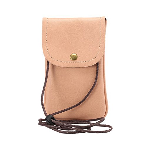 Alotm Cell Phone Bag, Universal PU Leather Crossbody Pouch with Shoulder Strap Mobile Phone Carrying Case Compatible with Samsung S8 S7 S6 Edge and More Smartphone Under 5.7'' (Pink)