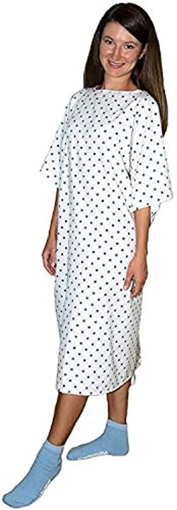 3 Pack - Deluxe Demure Print Hospital Gown/Hospital Patient Gown w/Back Ties