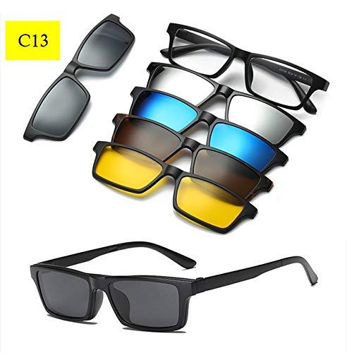 C13 Polarized Clip On Optical Glasses Women Men AntiGlare Sun Glasses Driving Myopia Magnet Eyewear Frame Fishing UV400  (Lenses color  C12)