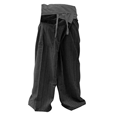 2 Tone Thai Fisherman Pants Yoga Trousers Free Size Cotton Gray and Charcoal, Free Size from Thailand