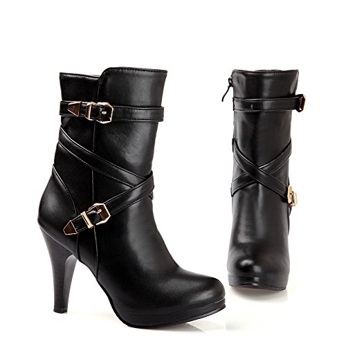 Closed B PU Solid Plush Soft M Womens Stiletto Black 5 and Short Round Banage 5 with Boots Material AmoonyFashion Toe US wUp5qxnIx