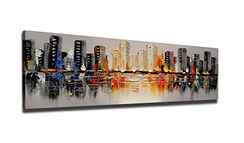 Sunding Art-Oil Painting on Canvas Hand Drawing Abstract Line and Black Art Paintings for Wall Decoration Living Room Ready to Hang 1 -