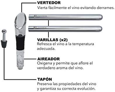 Palmmerce Enfriador de Vino, Enfriador de Botellas de Vino, Kit Accesorios Vino: 2 Varillas Enfriadoras de Acero Inoxidable + Tapón + Aireador Vertedor Antigoteo