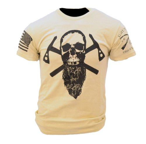 Grunt Style Fear the Beard II Men's T-shirt-Tan-X-Large (Best Way To Style Beard)