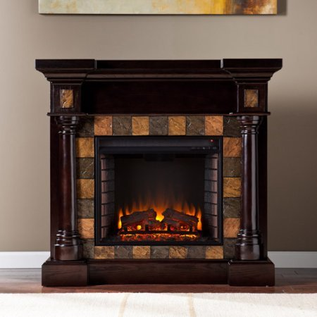NEW Southern Enteprises Kentshire Convertible Electric Fireplace, Espresso with Faux Slate