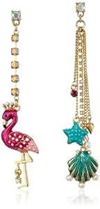 "Betsey Johnson ""Jewels of the Sea"" Flamingo and Sea Shell Mismatch Drop Earrings"
