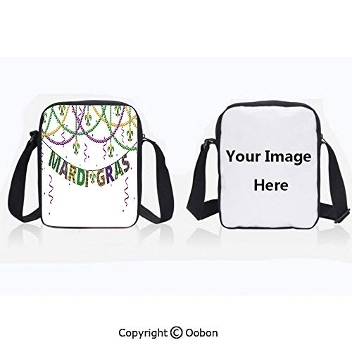 Fashion Water Resistant Polyester Shoulder Bag Festive Decorations with Fleur De Lis Icons Hanging From Colorful Beads Decorative Purple Green Yellow Zipper Anti-Theft Crossbody Bags Phone Purse Wall
