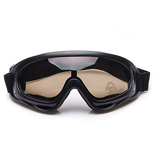 FANCYLEO Motorcycle Glasses - Adjustable Protective Outdoor Glasses Windproof Dustproof Eye Glasses Riding Combat Goggle Glasses for Riding Fishing Outdoor Sports Brown