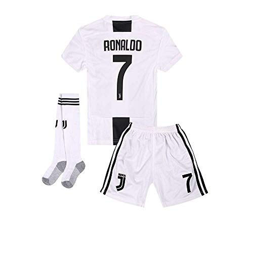 AYCJK33 Juventus Ronaldo #7 Kids/Youth Home Soccer Jersey & Shorts & Socks 2018-2019 Black/White (9-10Y/Size24)