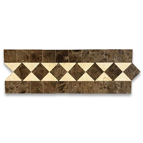 (Crema Marfil Marble Classic Diamond Mosaic Border Accent Listello Tile Polished)