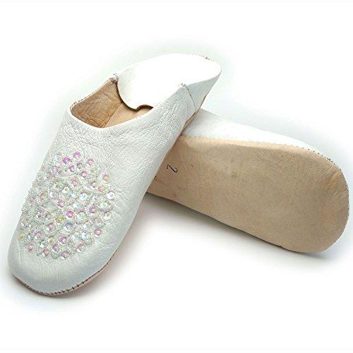 Kunterbuntbyhands Leder Babouche Pailletten Handverziert Weiß Panteffeln Leder Puschen