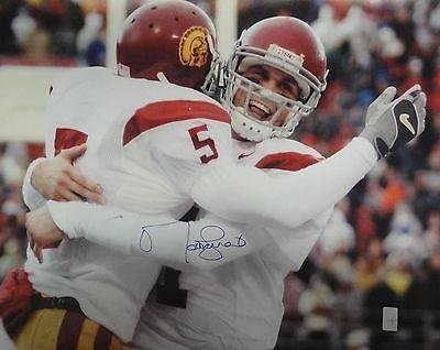 Signed Matt Leinart Photograph - 16x20 USC Trojans Hugging Bush w COA - Autographed NFL Photos