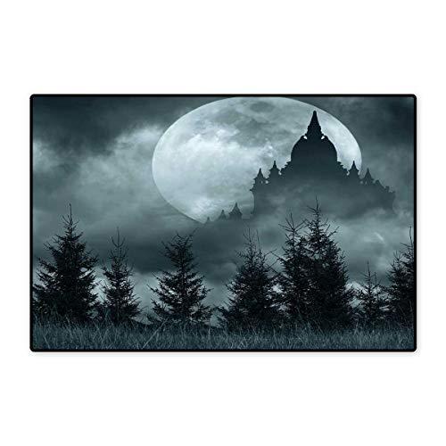 Halloween Floor Mat for Kids Magic Castle Silhouette