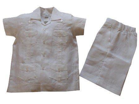 Boys Linen Guayabera Short Set-white-2 by Aby's Kids