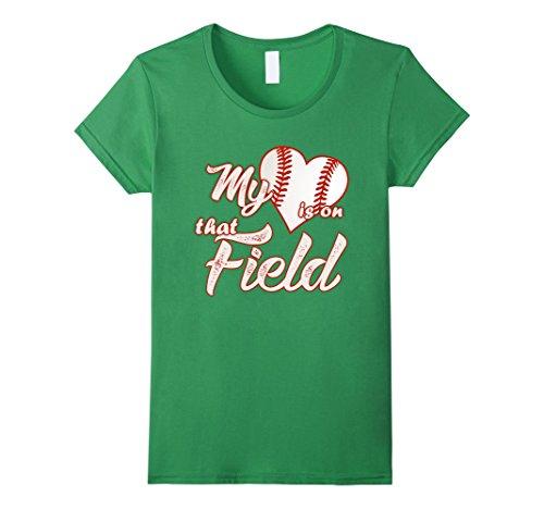 Womens My Heart Is On That Baseball Field Cute TShirt Medium Grass (T Shirts That Light Up)