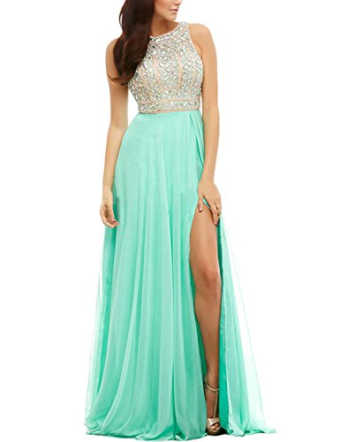 LucysProm Women's Prom Dresses A Line Beaded Bodice Chiffon Open Back Dresses