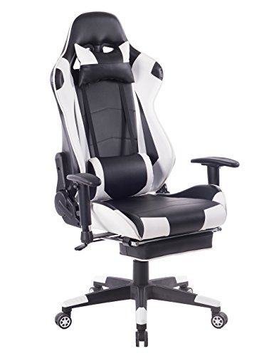 Recliner Cushion Leather Like Swivel (HEALGEN Big and Tall Gaming Chair With Footrest PC Computer Video Game Chair Racing Gamer Pu Leather Chair High Back Swivel Executive Ergonomic Office Chair with Headrest Lumbar Support Cushion(White))