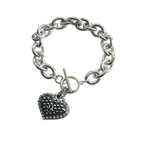 (PP Designs Silver Tone Heart Charm Link Toggle Bracelet)