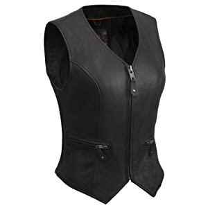 True Element Womens Short Fitted Motorcycle Leather Vest With Side Stretch Panel (Black, Size 2XL)