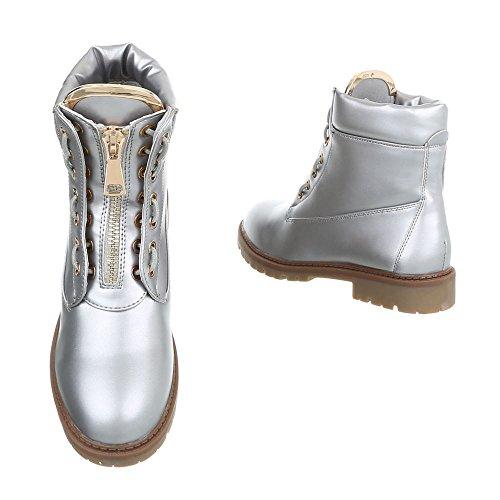 Ital-Design Schnürstiefeletten Damenschuhe Schnürstiefeletten Blockabsatz Schnürer Reißverschluss Stiefeletten Silber A-16-2