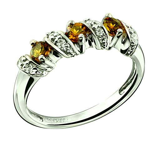 RB Gems Sterling Silver 925 Ring Genuine Gemstone Round 3 mm, Rhodium-Plated Finish, Stackable Style (9, citrine)