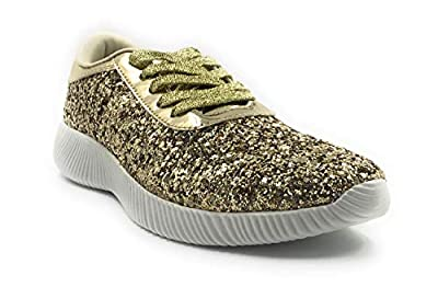 Forever Link Women's Low Top Glitter Lace-Up Fashion Sneaker