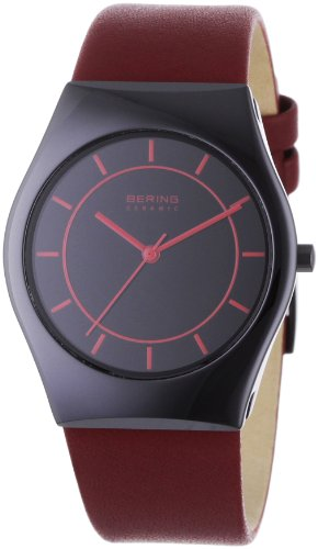 BERING Time 32035-649 Women's Ceramic Collection Watch with Leather Band and scratch resistant sapphire crystal. Designed in Denmark.