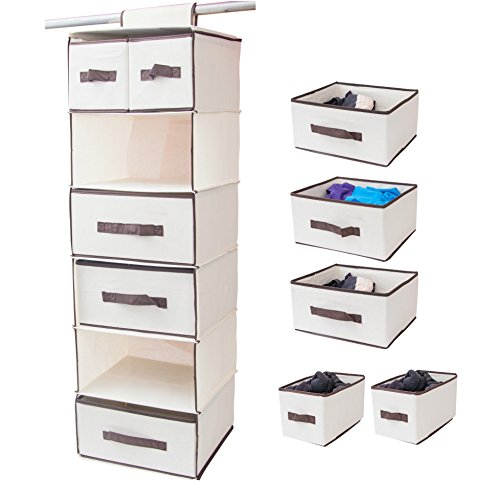Cheap  Lovotex 6-Shelf Hanging Closet Organizer With 3 Large And 2 Small Drawers..