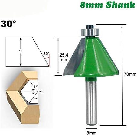 NO LOGO ZZB-ZT, 1pc 8mm Schaft Fasen Fräser 30 Grad Kantenbeschneiderads Fräser for Holz Woodorking Werkzeugmaschinen (Size : 30 Degree)
