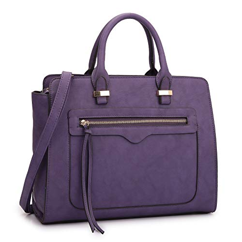 (Dasein Women Vegan Leather Handbag and Purse Satchel Bag with Crossbody Strap)