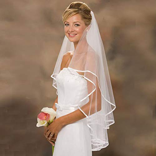 Stock White/Ivory Wedding Veils With 2-Layer Bridal Veil With Comb Women Wedding Accessories Ivory 75cm