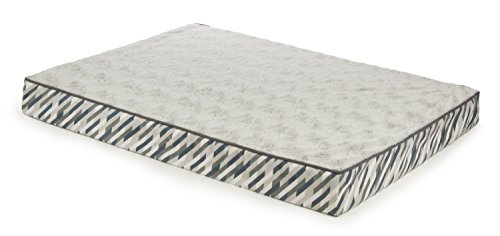 Sterling Deluxe Orthopedic Pet Bed Mattress, Large and Plush with Light Gray Chevron