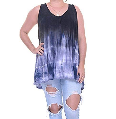 Free People Womens Knit Tie-Dye Tank Top Black ()