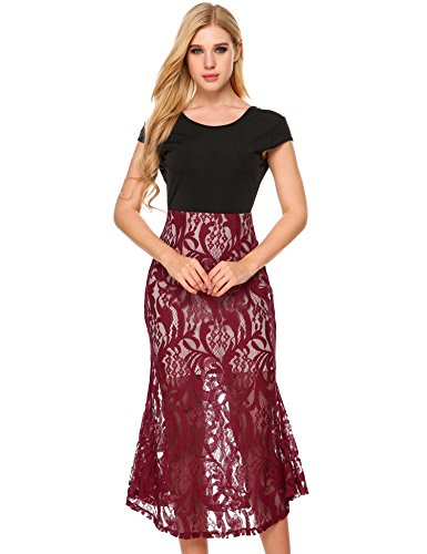 ANGVNS Womens Floral Skirt Stretch