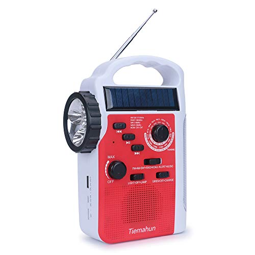 Tiemahun Dynamo Solar Hand Crank Emergency FM/AM/SW NOAA Alert Radio with MP3 Player Support SD Card LED Flashlight Reading Lamp Siren and 2300mAh Power Bank (Red)