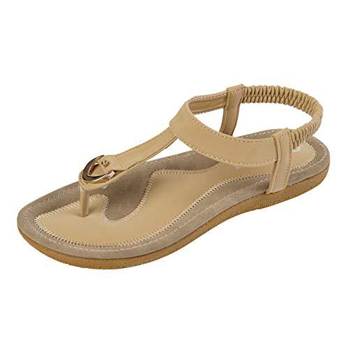 Flat Heel Femininas Summer Single Shoes Woman Soft Bottom Slippers Sandals Apricot 7