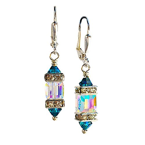 HisJewelsCreations Clear Square Cube and Blue Crystal Rhinestone Squardelle Earrings