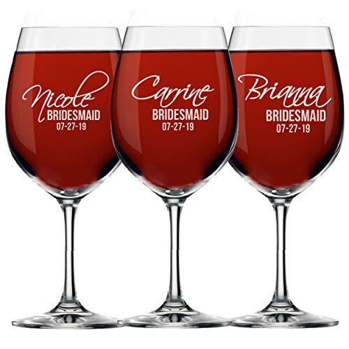 Set of 3 6 and More Personalized Bridal Wedding Party Wine Glasses with Stem  Custom Etched Bride Bridesmaid Gifts  Feather Tip Style 3