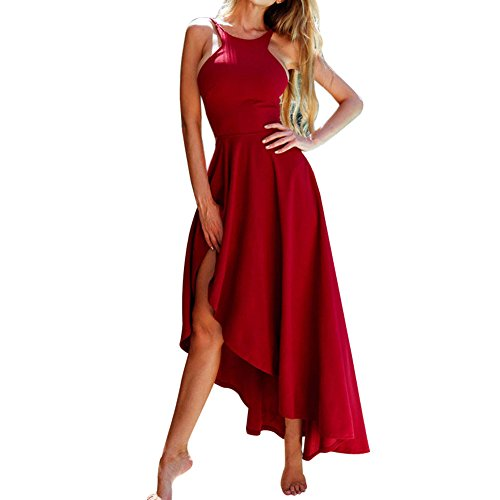 Dresses,Women's Sexy Irregular Hem Backless Slim Halter Long Maxi Dress Sleeveless Party Cocktail Dress (M, Red)