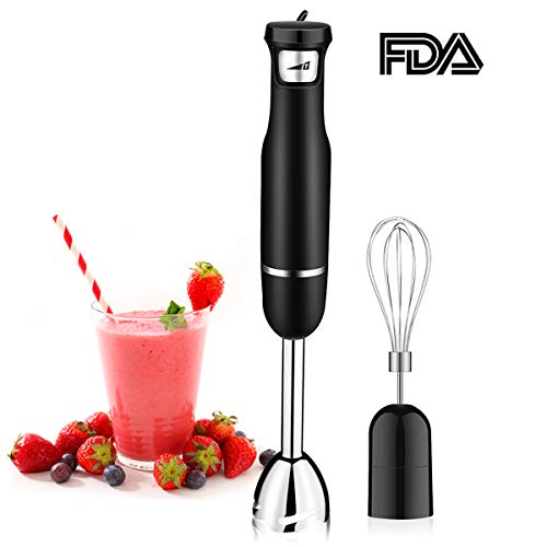 Immersion Hand Blender, Powerful 500W(15,000RMP) Endless Speed Control, CUSIBOX Multi-Purpose Stick Blender with Whisk, Black