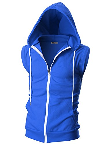 OHOO Mens Slim Fit Sleeveless Lightweight Zip-up Hooded Vest with Single Slide Zipper/DCF012-BLUE-S (What Is Ash We)