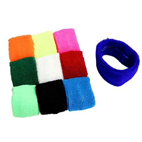 KurtzyTM 10 Pack Cotton Stretch Coloured Sweatbands Head Band Sports Exercise Fitness