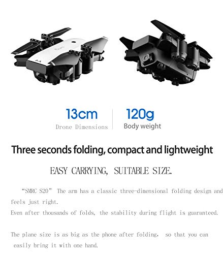 Hot  SMRC S20 RC Quadcopter 2.4GHz 1080P 120°Wide-Angle HD Camera 6-axis Helicopter Foldable Selfie Drone - Headless Mode,One Auto Return Key, Flying Around by Hisoul (Image #6)