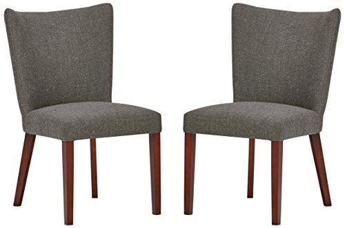 (Rivet Tina Mid-Century Modern Curved Back Kitchen Dining Chairs - 36 Inch Height, Ash Grey, Set of 2)