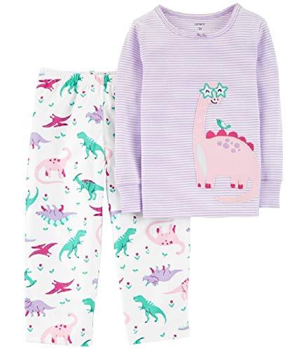 Carter's Baby Girls' 2 Piece Snuggle Fleece Pajamas (Stripe Multi, 4T)