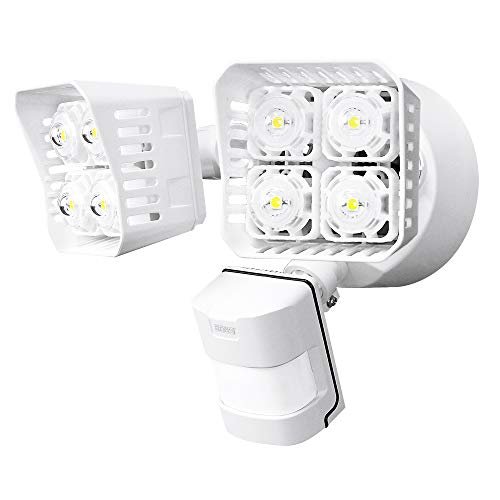 (SANSI LED Security Motion Sensor Outdoor Lights, 36W (250W Incandescent Equivalent) 3600lm, 5000K Daylight, Dusk to Dawn Waterproof Flood Light, ETL Listed, White)