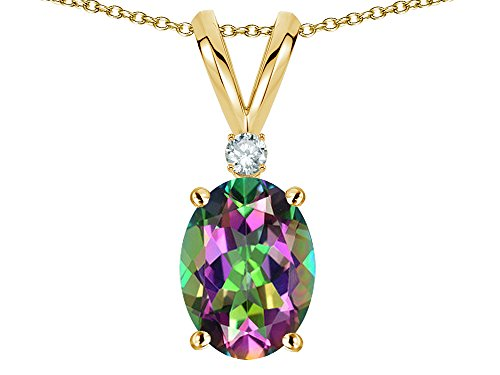 Star K Oval 7x5mm Rainbow Mystic Topaz Pendant Necklace 14 kt Yellow Gold ()