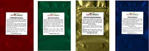 LEENA SPICES - 4 Packs Of Indian Spice - Tandoori Seasoning, Biryani Blend, Butter chicken And Tikka Masala - All Gluten Free - Easy To Cook Delicious Recipes On Back Cover.