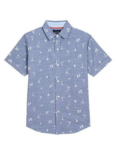 Nautica Boys' Short Sleeve Printed Woven Shirt, Dark Blue Boat Chambray, XL(7X)