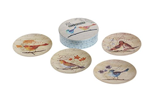 Transpac Stoneware for The Birds Plate Set with Box, Multicolor